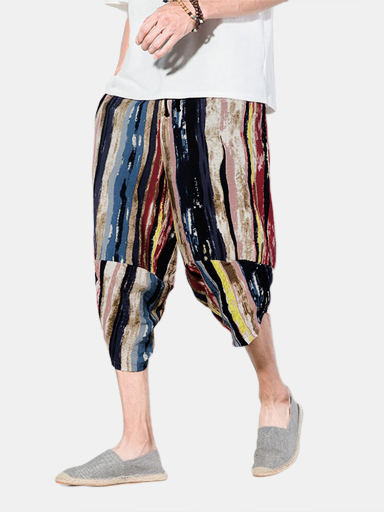 Men Color Striped Print Cropped Causal Pants