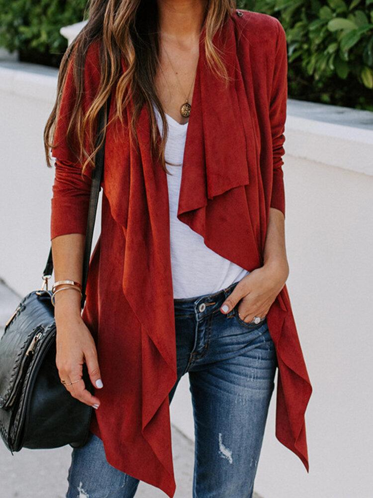 Solid Color Cross Wrap Irregular Long Sleeve Kimono For Women