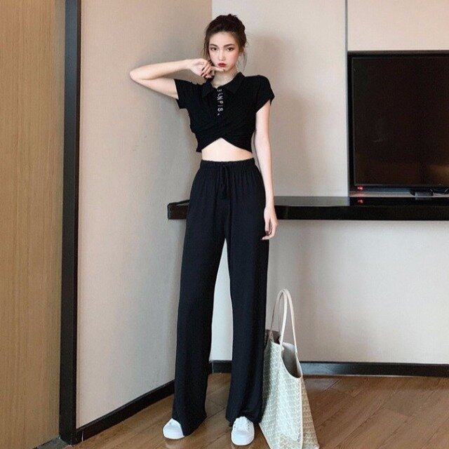 Niche_Twopiece_Temperament_Port_Wind_Shortsleeved_Tshirt_High_Waist_Hanging_Wide_Leg_Pants_Casual_Suit_Female_Tide