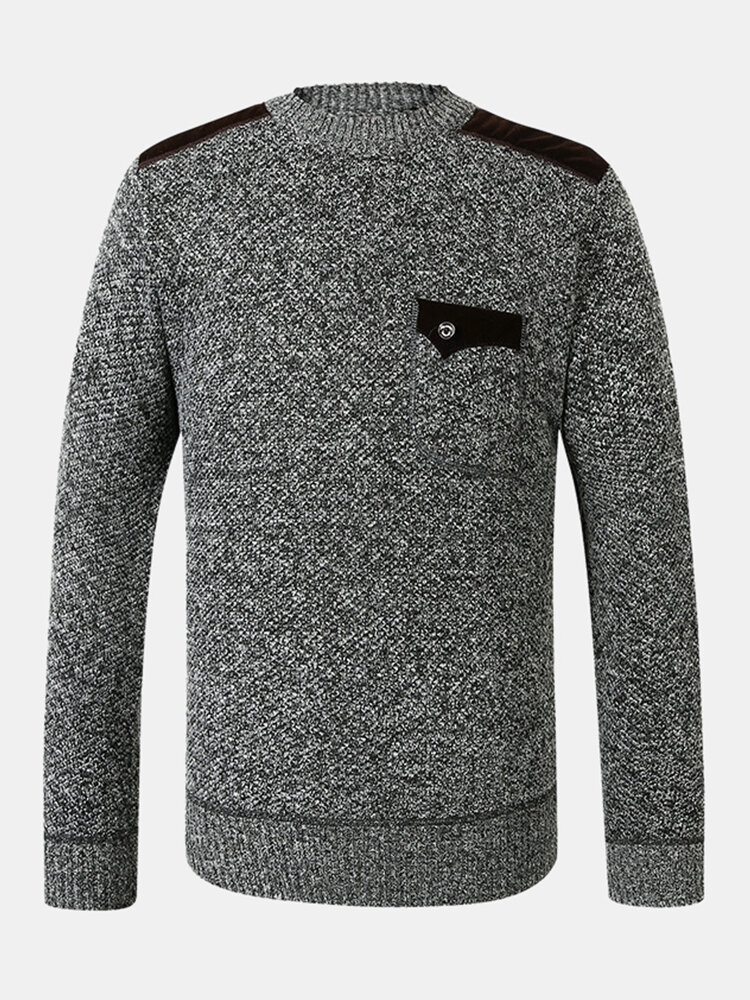 Mens Classical Vantage Chest Pockets Solid Color Warm Sweaters