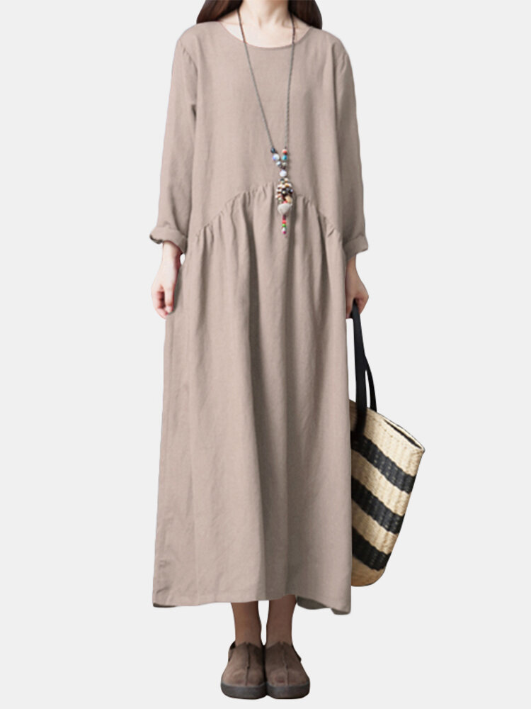 Vintage Solid Long Sleeve Patched Loose Dress