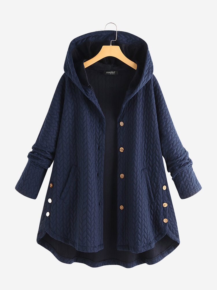 Lässige Jacquard-Taschen High Low Thin Loose Hooded Coat