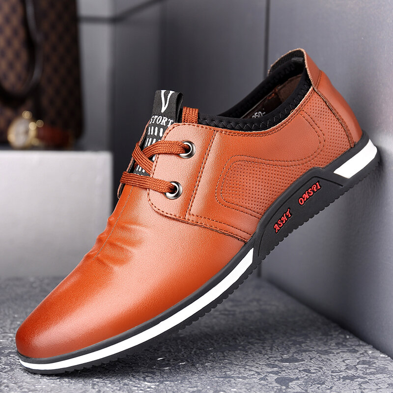 Men Comfy Soft Leather Round Toe Lace Up Business Casual Shoes