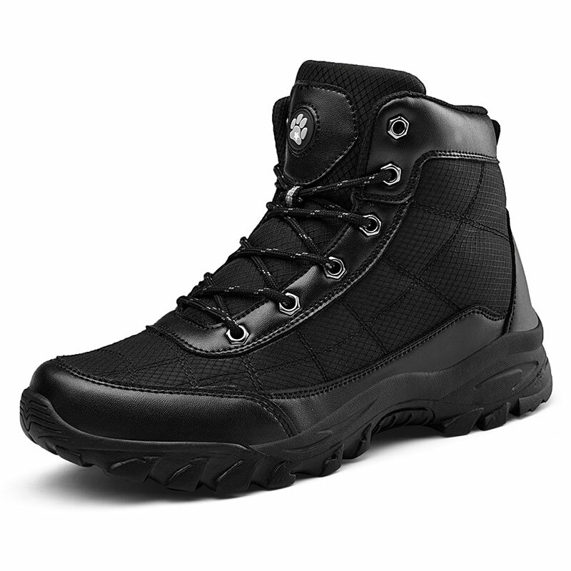 Men Outdoor Slip Resistant Lace Up Hiking Climbing Boots
