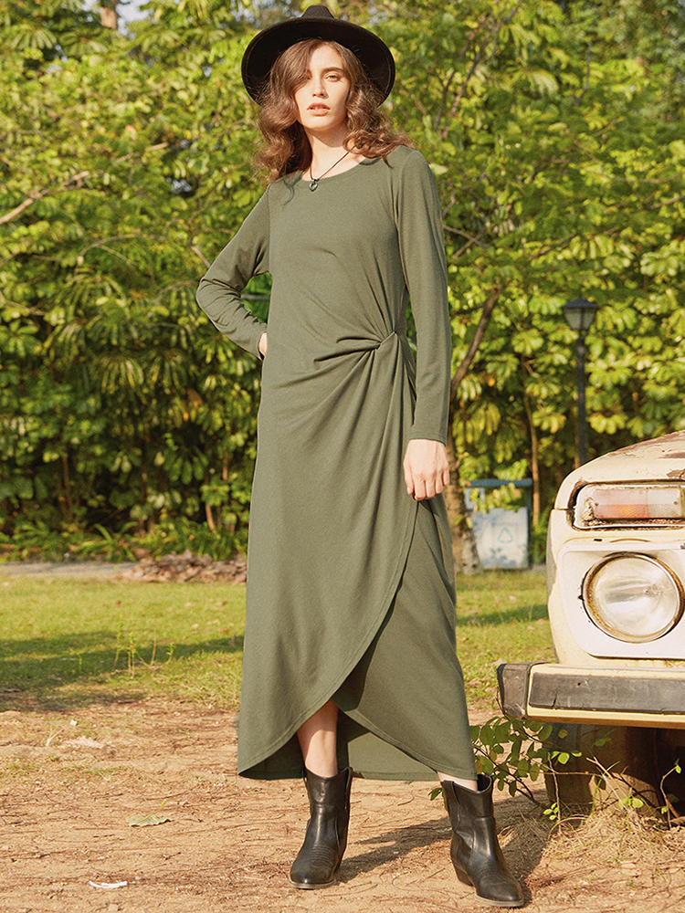 Twist Solid Color Long Sleeve Maxi Dress For Women