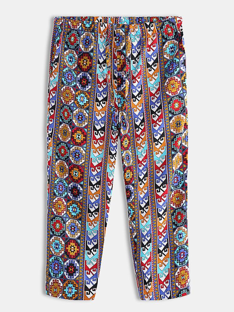 Mens National Style Cotton Loose Pajamas Pants Home Portly Long Drawstring Loungewear Bottoms
