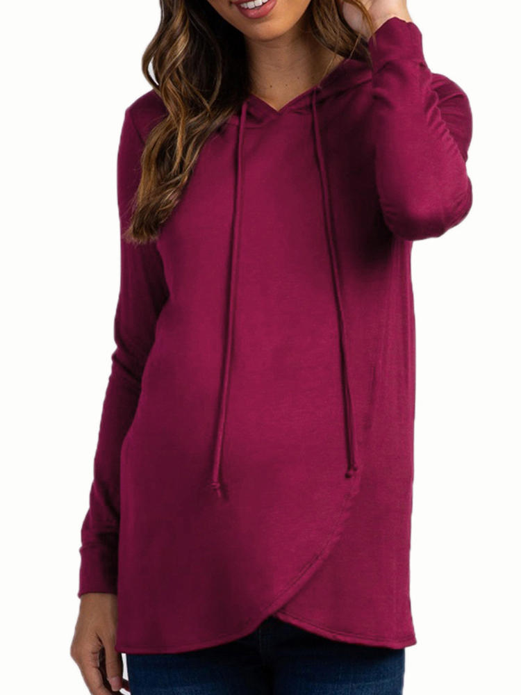 Maternity Long Sleeves Hooded Cotton Casual Sweatershirt Nursing Tops