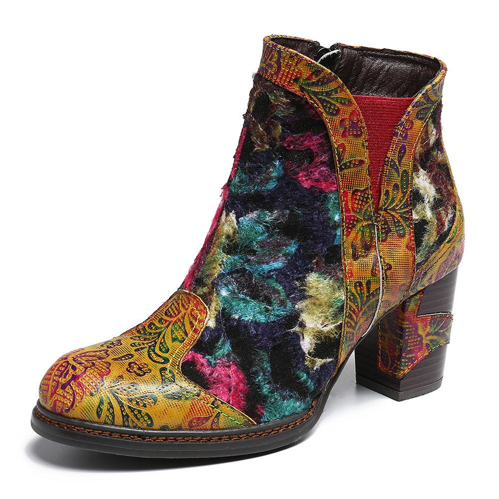 SOCOFY Women Retro Genuine Leather Splicing High Heel Zipper Dress Short Boots