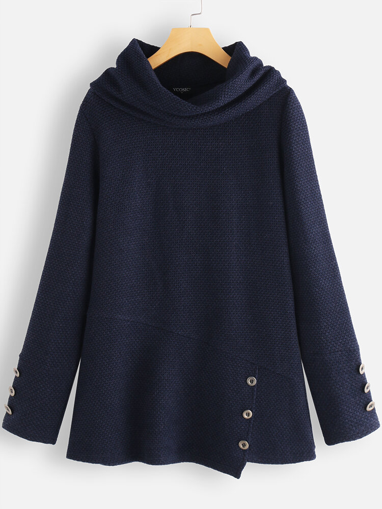 Casual Solid Color Turtleneck Button Long Sleeve Knitted Blouse