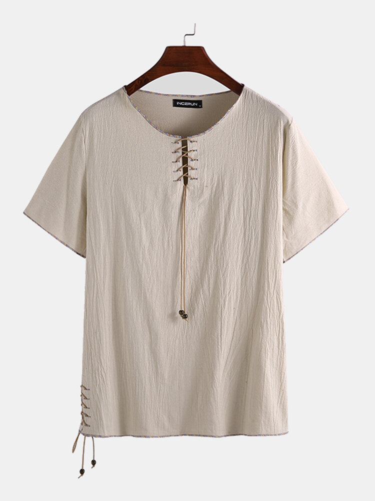 Mens Cotton Linen Chinese Style Short Sleeve T-Shirt