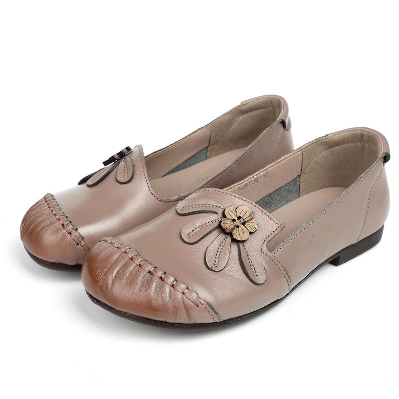 Genuine Leather Flower Hand Stitching Slip On Soft Flat Shoes For Women