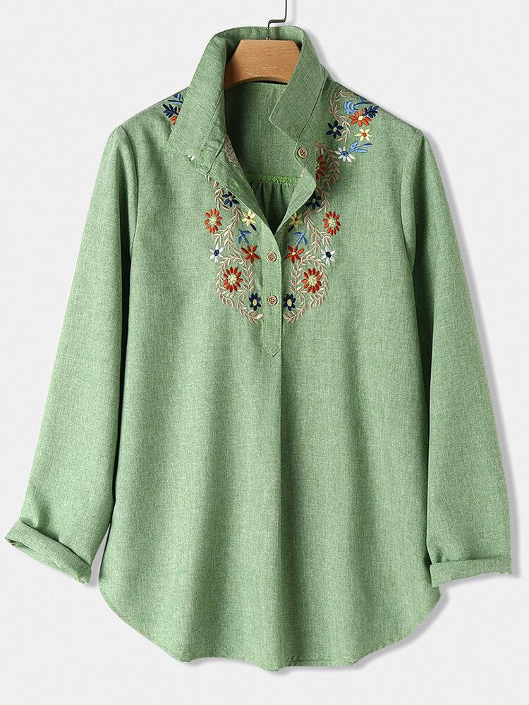 Blumen besticktes Langarm-Revershemd für Damen