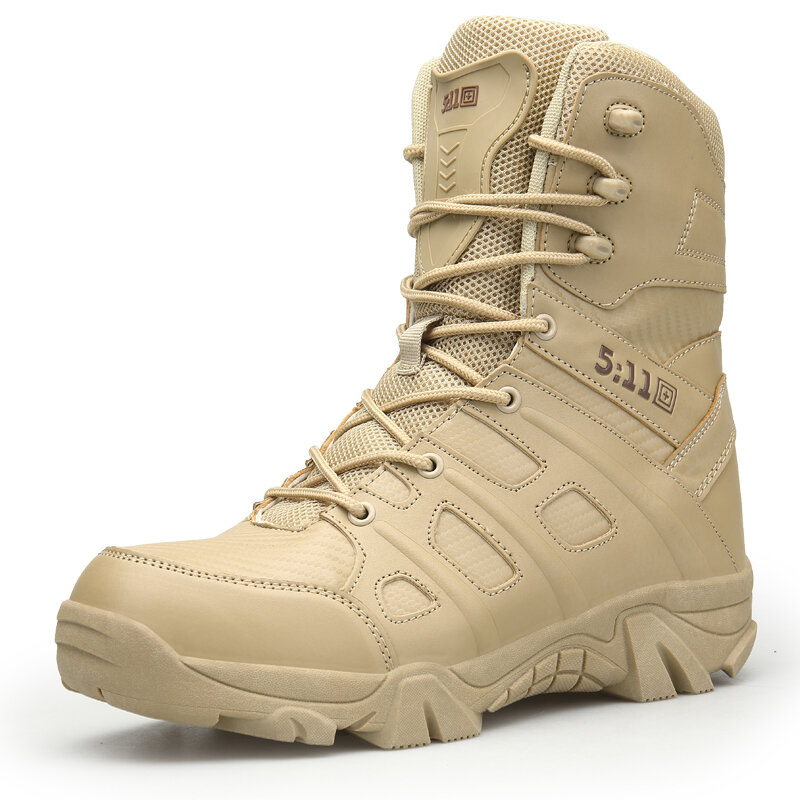 Men Outdoor Work Style Slip Resistant Lace Up Hiking Desert Boots
