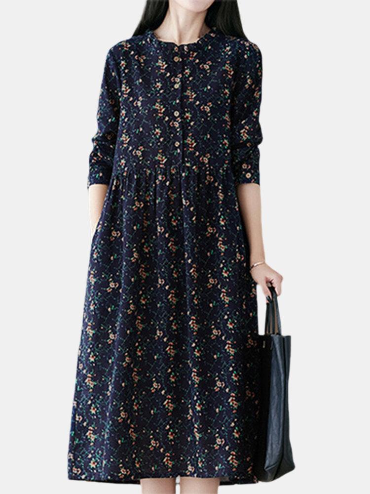 Vintage Floral Print Long Sleeve Cotton Casual Dress