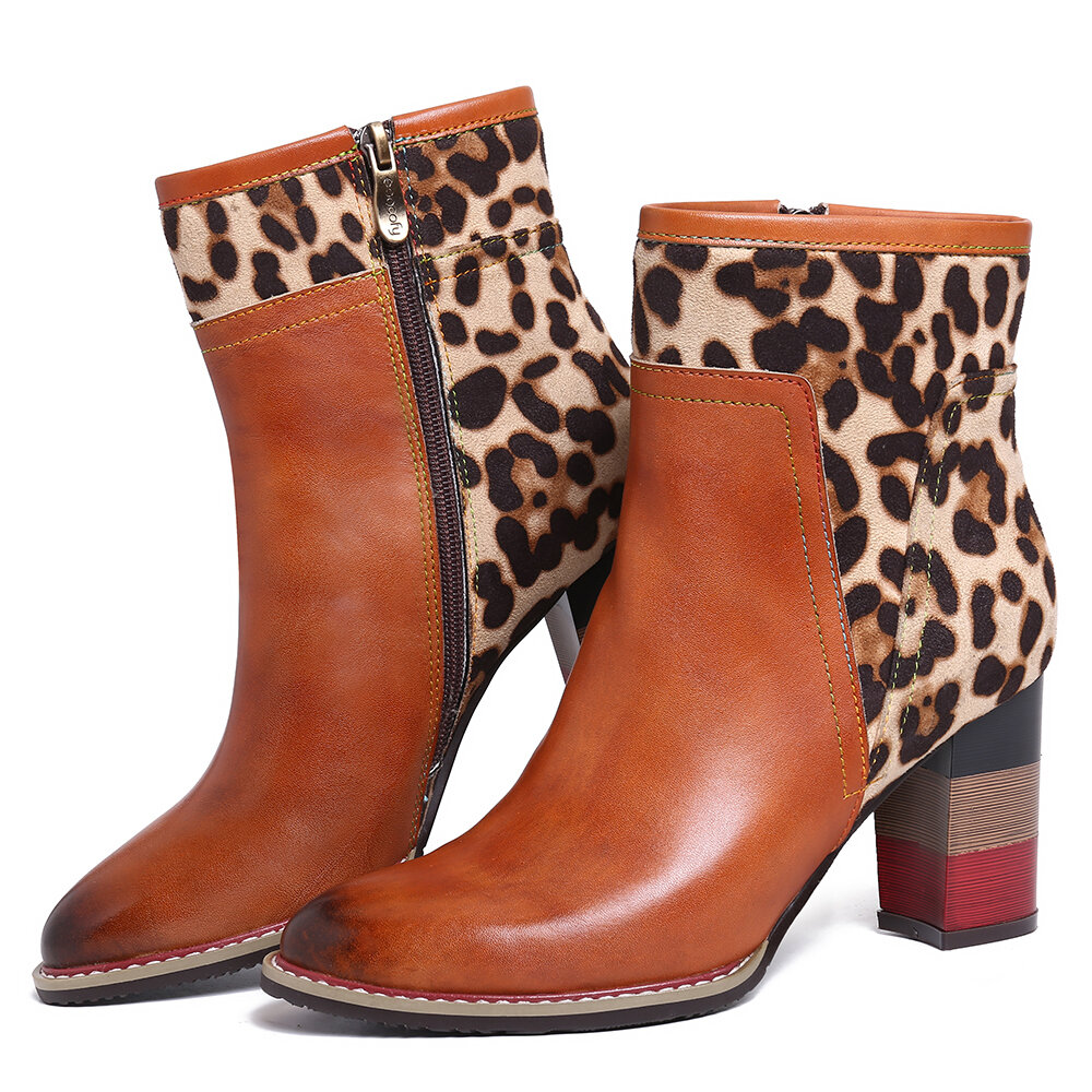 SOOCFY Leopard Pattern Splicing Genuine Leather High Square Heel Zipper Short Boots