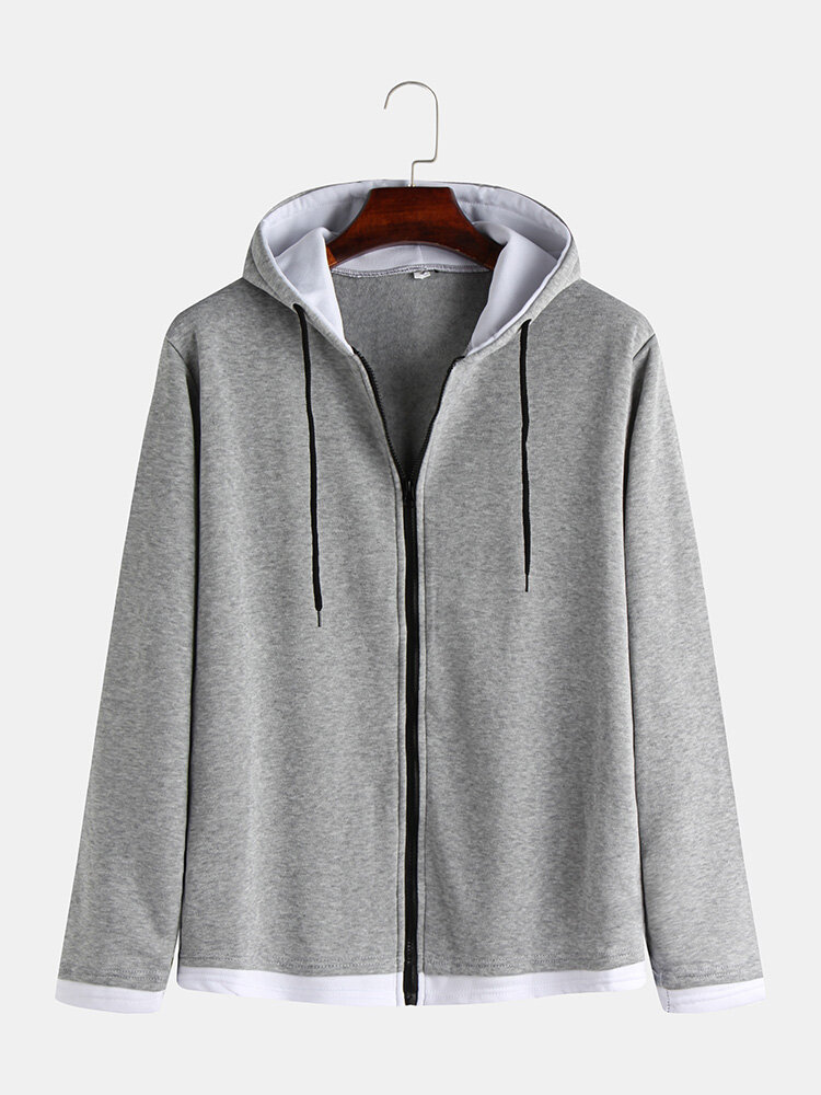 Mens Brief Style Solid Color Front Open Zipper Muff Pocket Hoodies