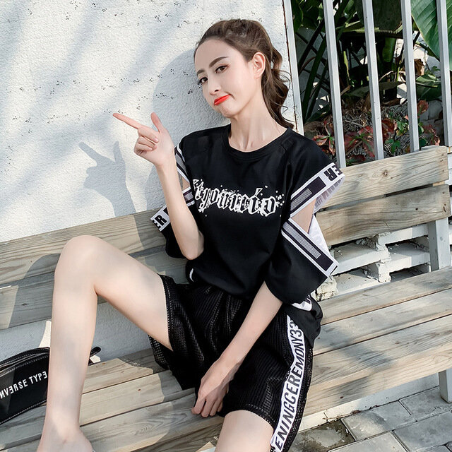 Season_New_Harajuku_Shortsleeved_Offtheshoulder_Hiphop_Top_And_Playful_Mesh_Net_Pants_Twopiece
