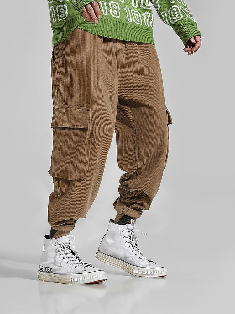 Mens Corduroy Solid Color Big Pockets Button Track Pants