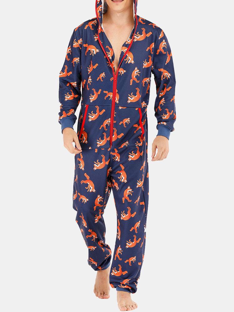 男性おかしいオオカミプリントジャンプスーツラウンジウェアロイヤルブルーフード付きワンピースポケット