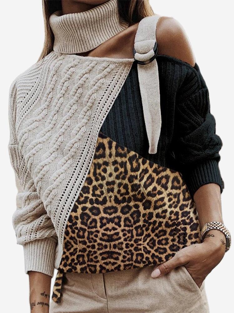 Leopard Print Patchwork Turtleneck Long Sleeve Sweater