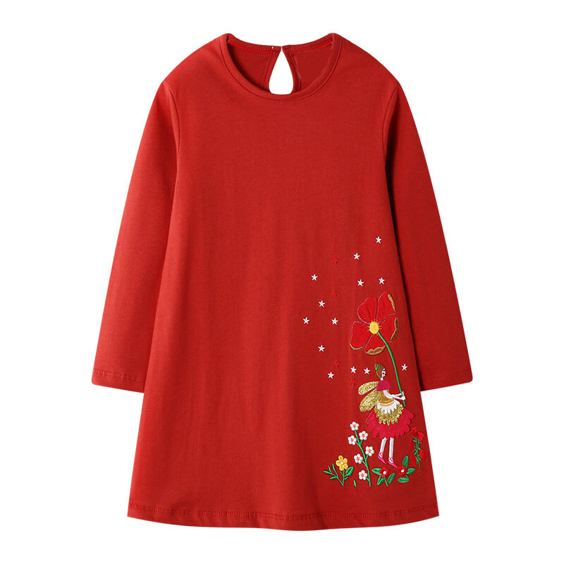 Girl's Flower Casual Long Sleeves Dress For 1-9Y
