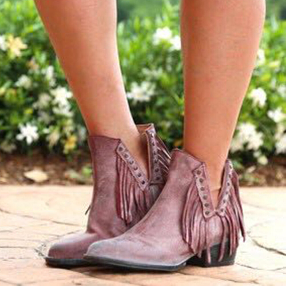 Tassel V Shape Chunky Heel Solid Color Women Ankle Boots
