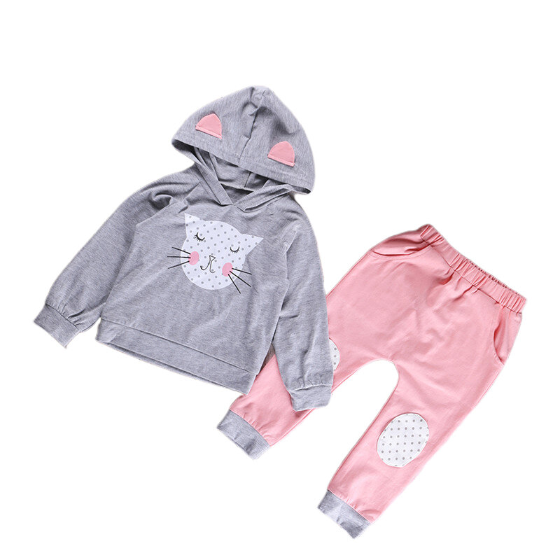 Girl's Cat Cartoon Hooded Long Sleeves Casual Suit For 2-9Y