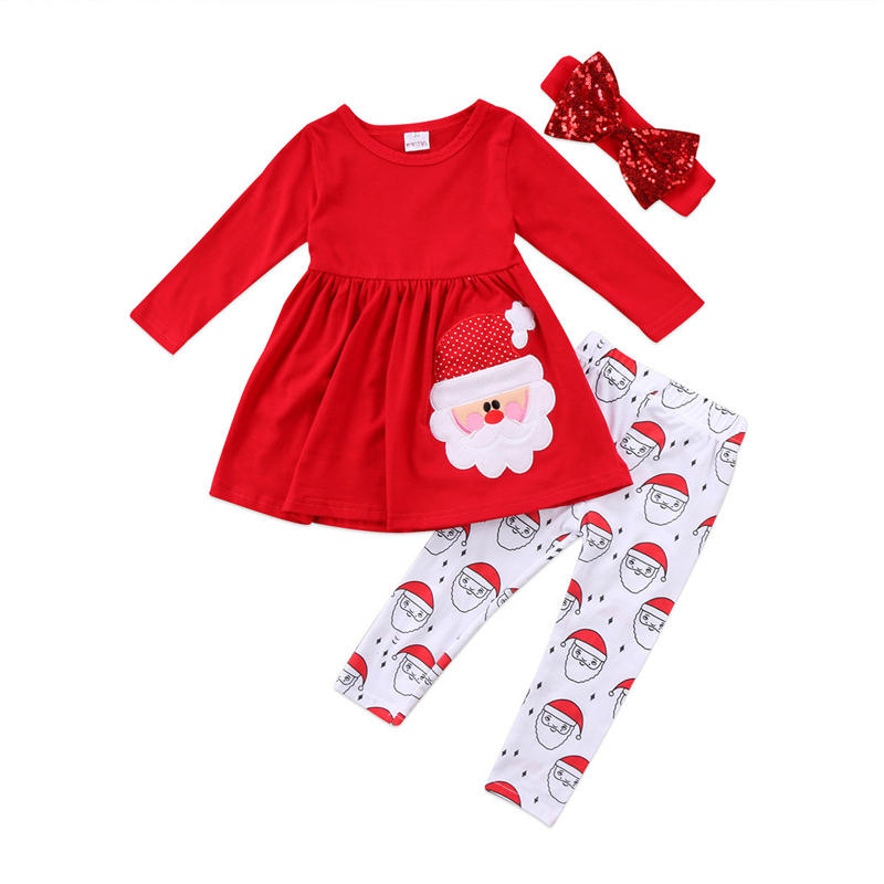 3PCs Toddler Girls Christmas Cartoon Long Sleeves Casual Set For 2-9Y