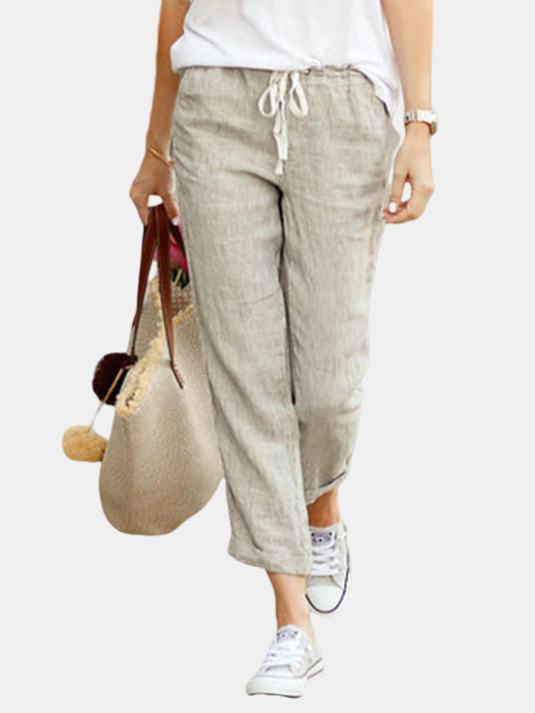Solid Color Casual Drawstring Elastic Waist Soft Pant