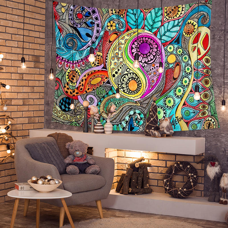 Colorful_Abstract_Sun_God_Taiji_Diagram_Tapestries_Beach_Towel_Yoga_Towel_Living_Room_Art_Decor