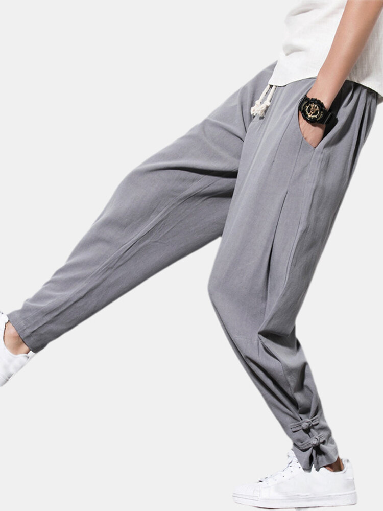 Mens Chinese Style Thick Fleece Warm Adjustable Cotton Drawstring Elastic Straight Pants