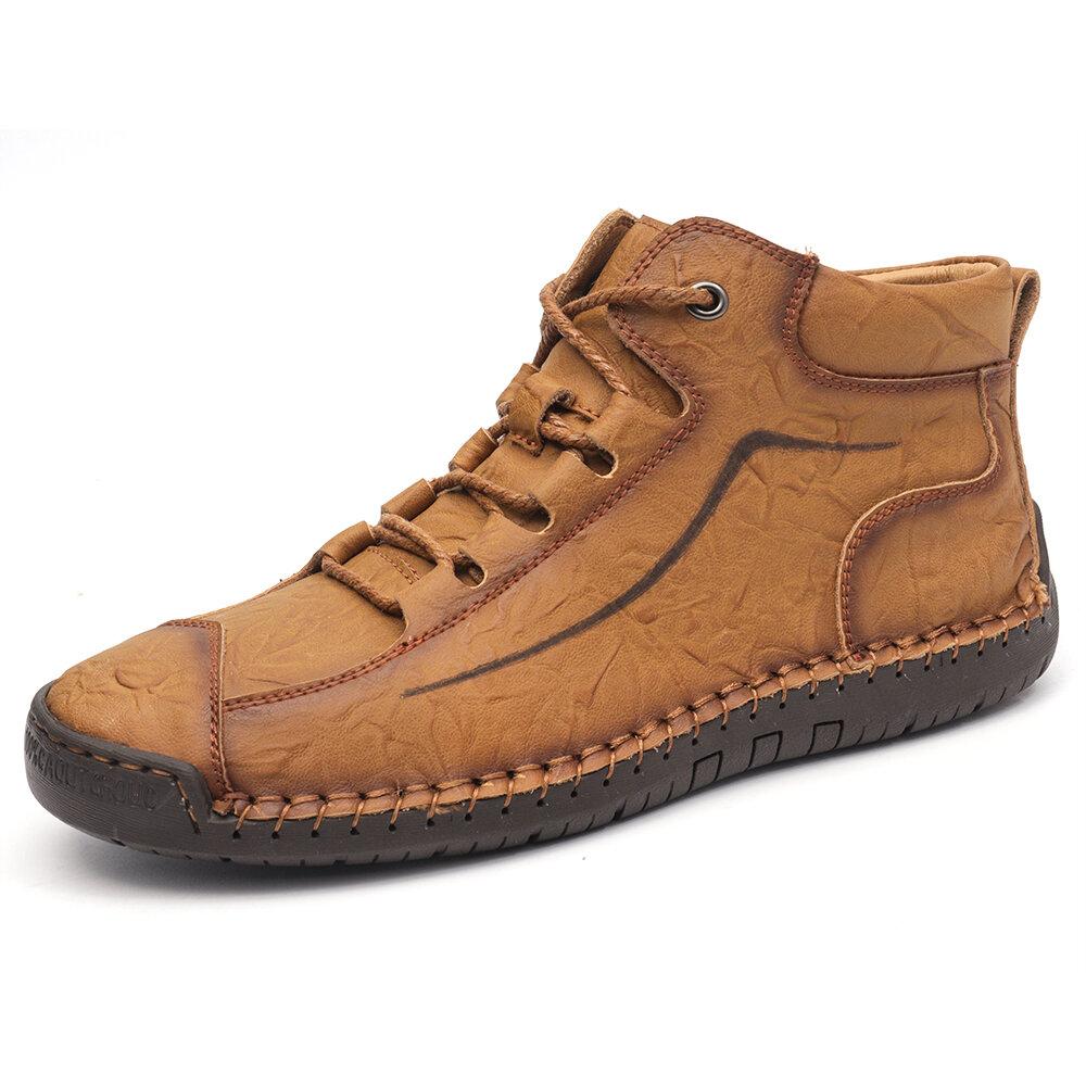 Menico Men Retro Cow Leather Non Slip Hand Stitching Casual Boots