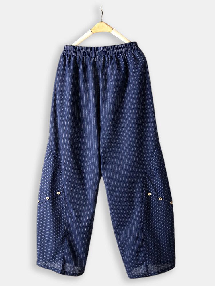 Vintage Loose Striped Button Loose Elastic Waist Pants