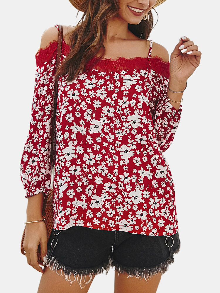 Casual Floral Print Patch Lace Straps Off The Shoulder Long Sleeve Overhead Blouse