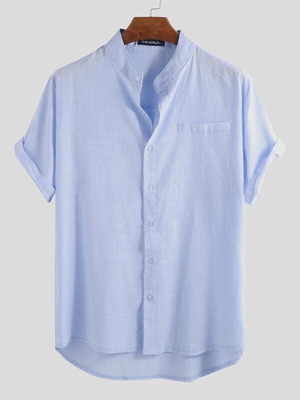 Mens Chinese Style Linen Solid Color Short Sleeve Shirts