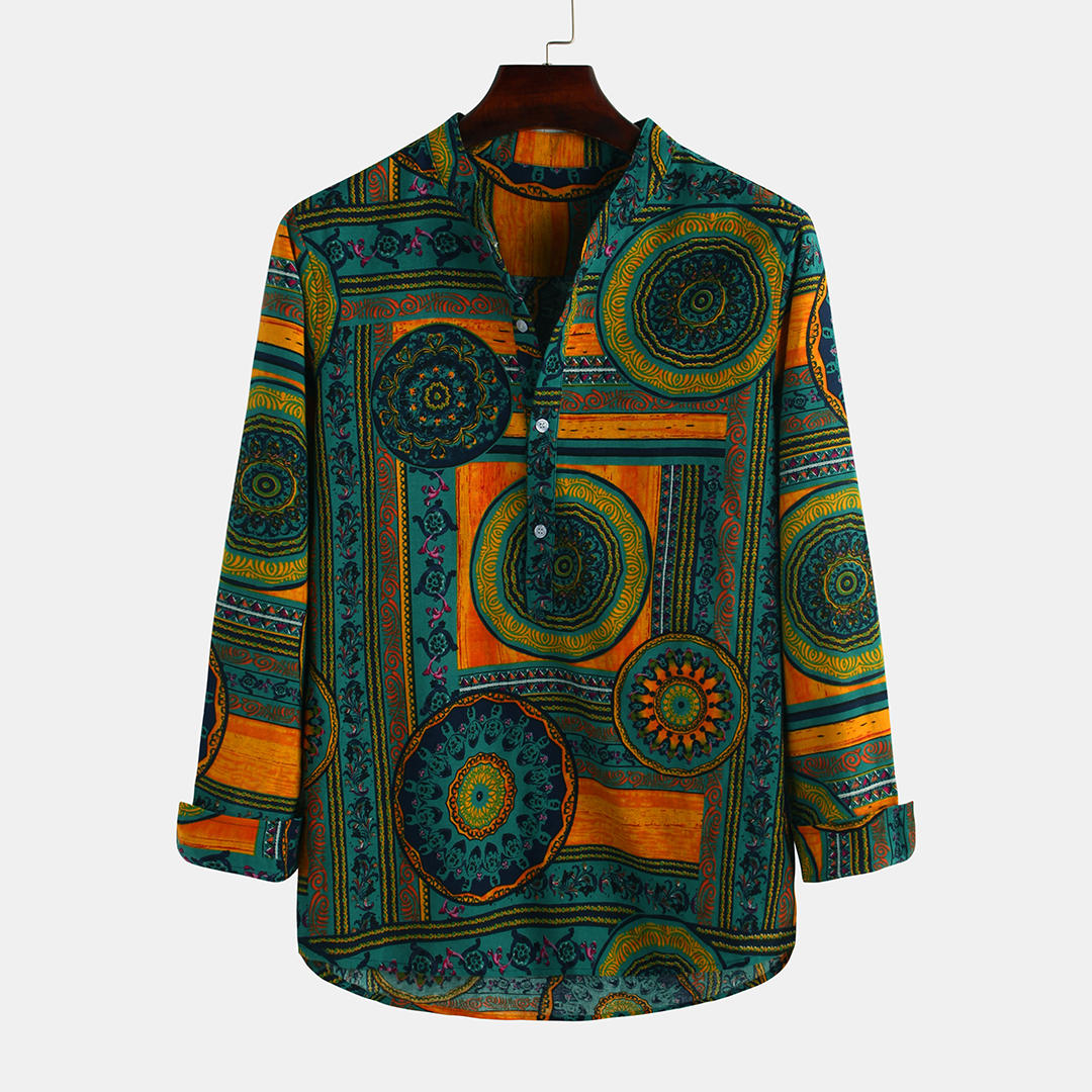 Mens_100%_Cotton_Casual_Ethnic_Style_Circle_Printed_Long_Sleeve_Stand_Collar_Shirt