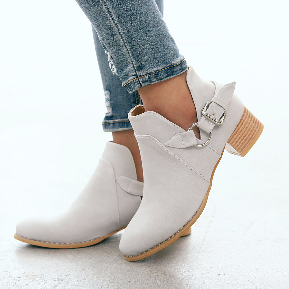 Plus Size Women Fashion Boots Solid Color Slip On Short Boots