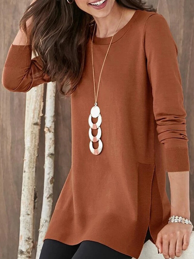 Side Splited Solid Color Long Sleeve Casual Blouse For Women