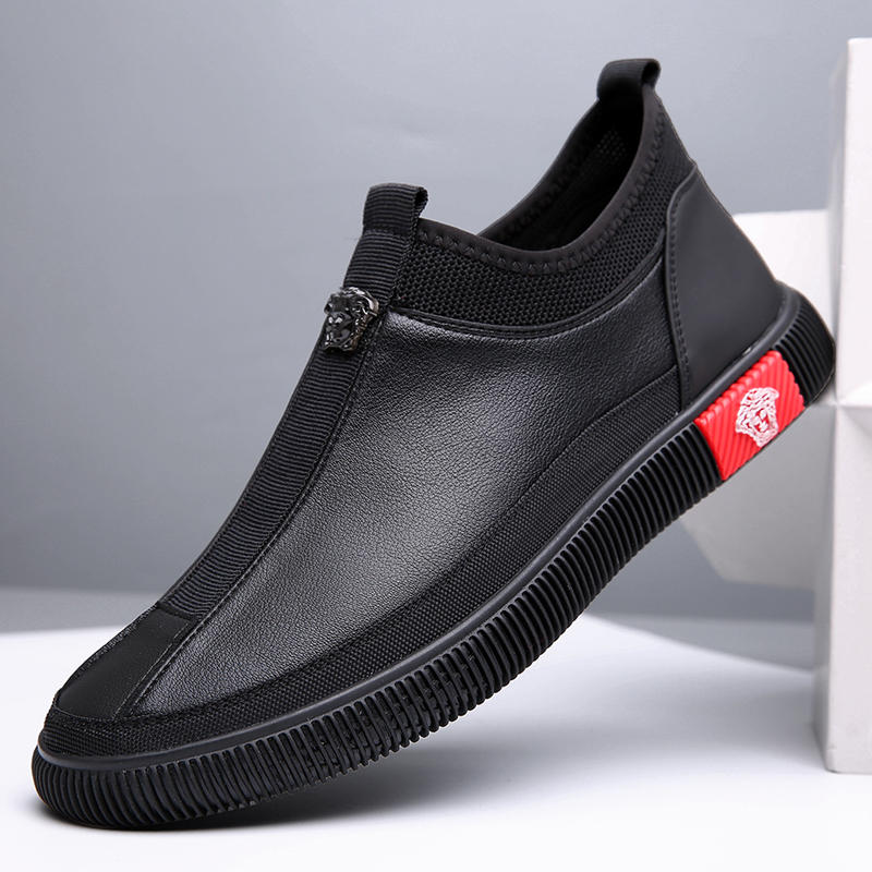 Men Microfiber Leather Splicing Elastic Slip On Casual Driving Loafers