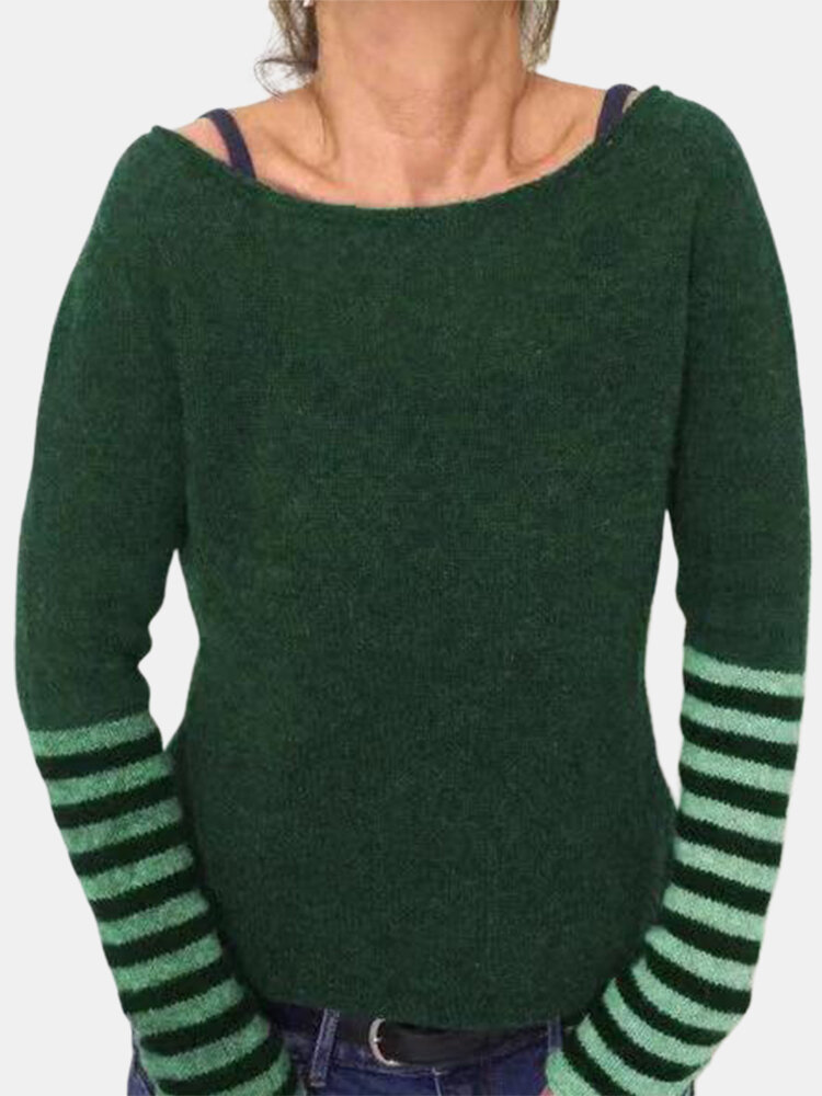 Casual Patch Striped Crew Neck Long Sleeve Overhead Knitting Sweater