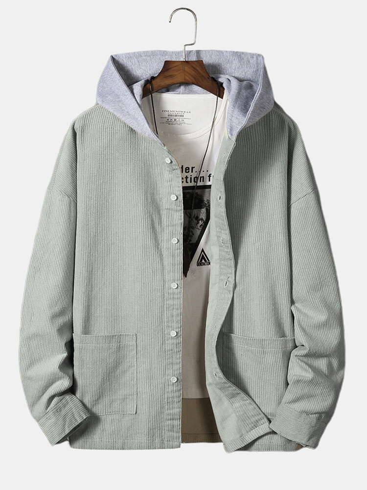Mens Plain Corduroy Double Pockets Buttons Front Hooded Down Jackets