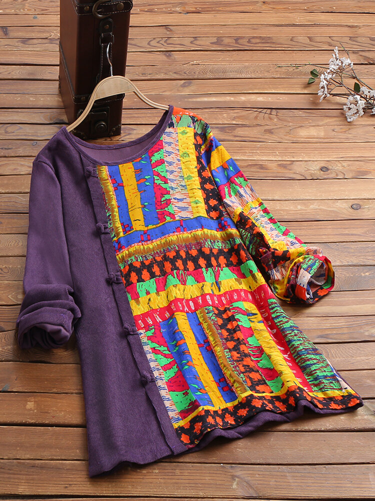 Corduroy Casual Patch Print Crew Neck Side Frog Button Long Sleeve Blouse