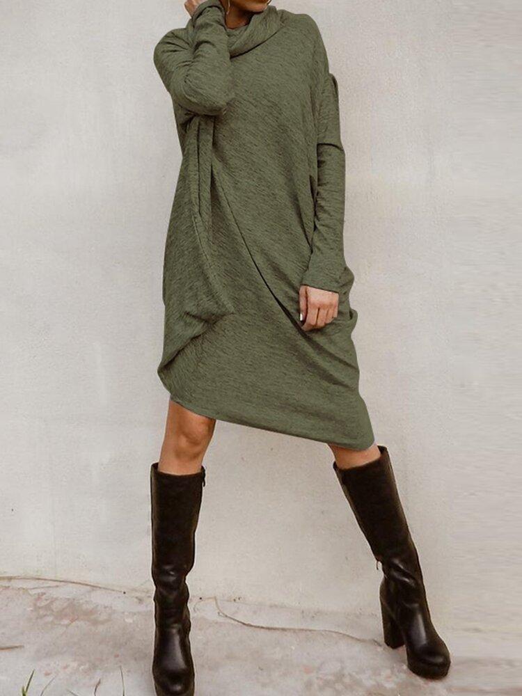Irregular Solid Color Turtleneck Long Sleeve Casual Dress For Women