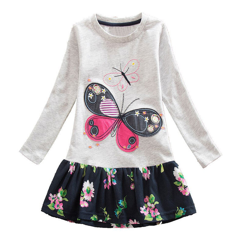 Girs_Butterfly_Embroidered_Printed_Patching_Longsleeved_Casual_Dress_For_29Y