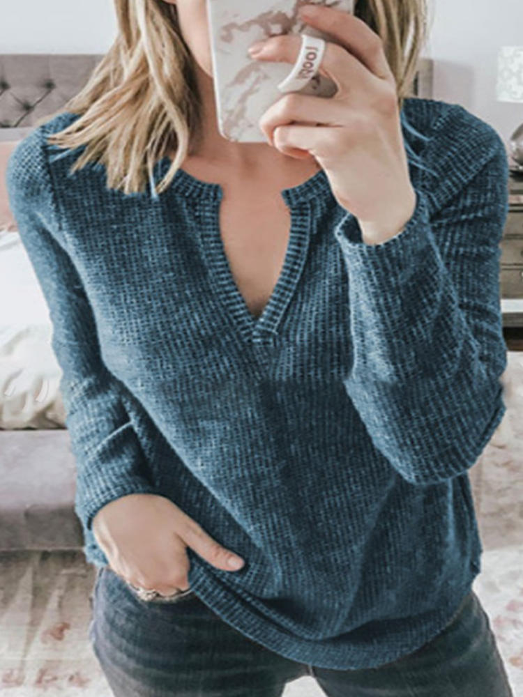 Solid Color V-neck Long Sleeve Loose Knit Casual Blouse