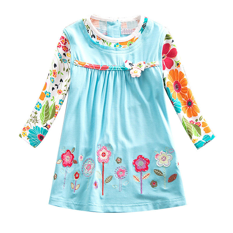Girl's Bowknot Embroidery Flower Long Sleeves Casual Dress For 2-9Y
