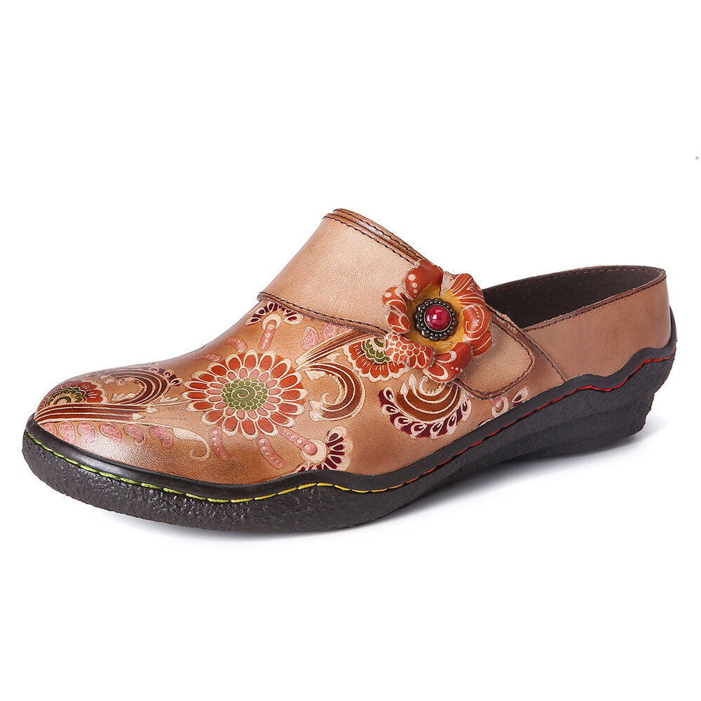SOCOFY Retro Floral Embossed Pattern Genuine Leather Super Comfy Slip On Shoes