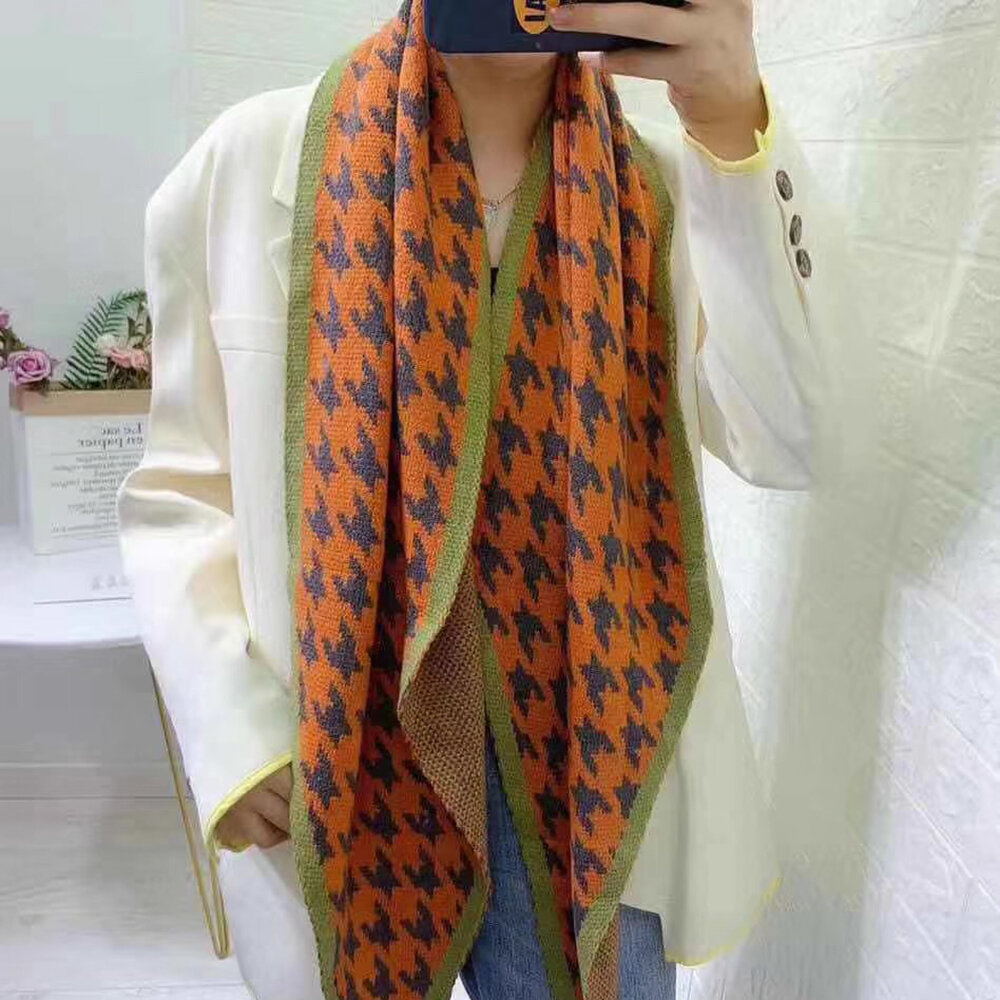 Multi-colored Houndstooth Double-layer Knit Scarf Ladies Shawl
