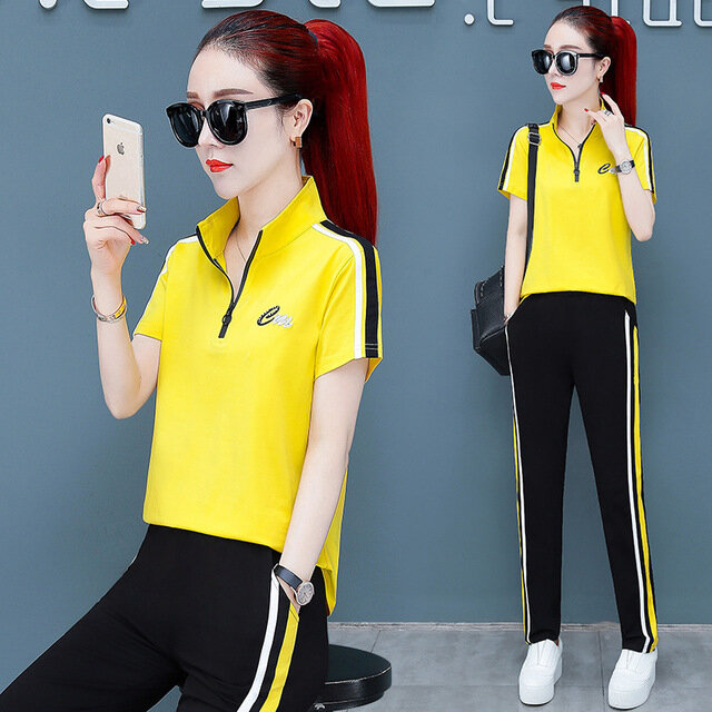 Sports_Suit_Female_Season_New_Large_Size_Loose_Fashion_Short_Sleeve_Slimming_Casual_Twopiece_Set_Of_Foreign_Gas