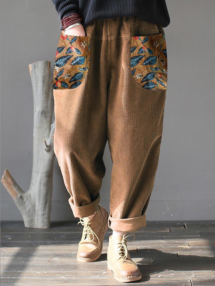 Floral Print Patchwork Corduroy Pants For Women